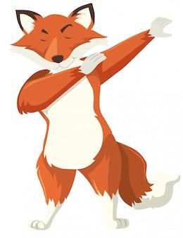Uma raposa dab no fundo branco