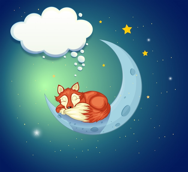 Uma raposa dormindo acima da lua