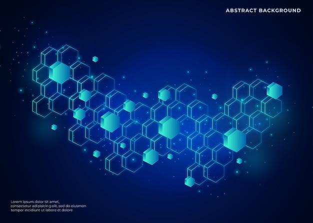 Uma rede tridimensional em forma de polígono e um plano de fundo azul futuro