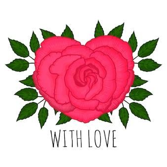 Uma rosa em forma de coração. no fundo branco.