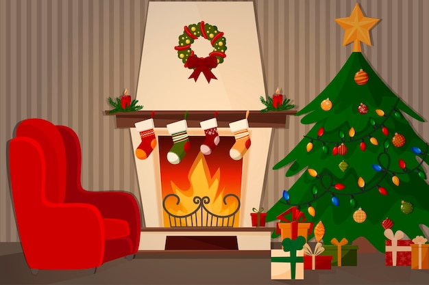 Uma sala com lareira, poltrona e uma árvore de natal decorada.
