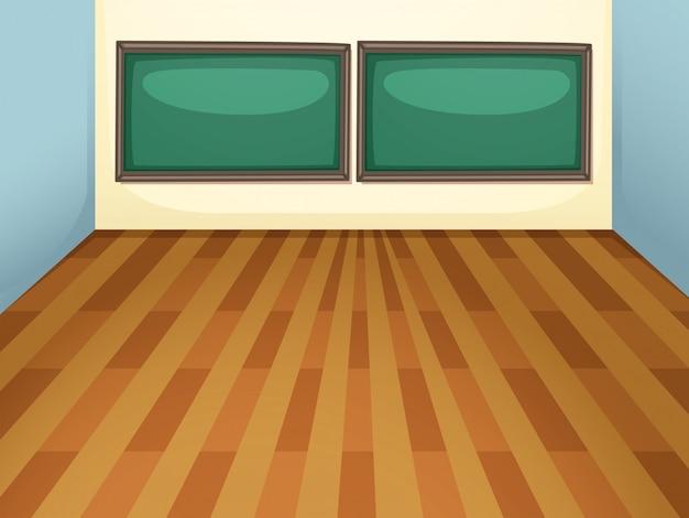 Uma sala de aula vazia no fundo da ilustração da escola