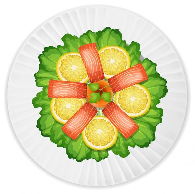 Uma salada de salmão fresco