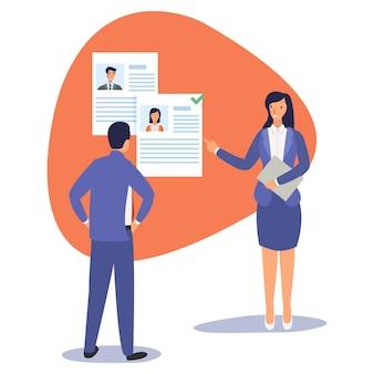 Uma secretária está apresentando uma seleção de candidatos a empregos que se candidataram ao ceo Vetor Premium
