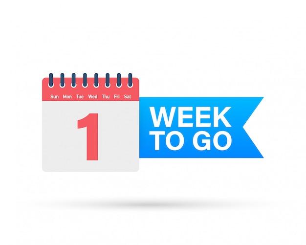Uma semana para ir oferecer. ícone de calendário.