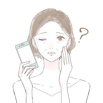 Uma senhora de meia-idade com um smartphone que tem dúvidas. sobre um fundo branco.