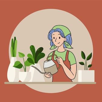 Uma senhora em casa jardinando e regando plantas
