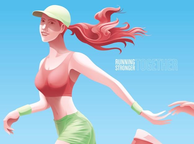 Uma senhora está correndo ou correndo junto com seu amor