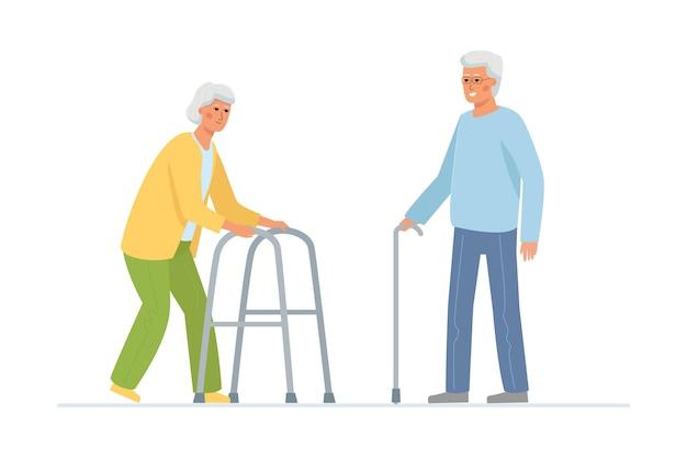 Uma senhora idosa com um andador e um homem grisalho com uma bengala.