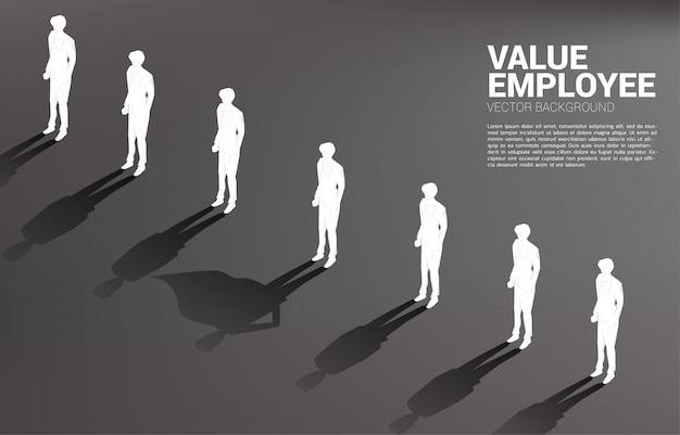 Uma silhueta do empresário com sua sombra de super-humano. conceito de capacitação potencial e gestão de recursos humanos