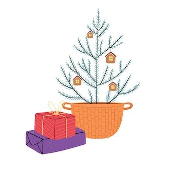 Uma simples árvore de natal em uma cesta de vime