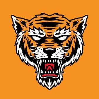 Uma simples cabeça de tigre perfeita para mascote ou logotipo