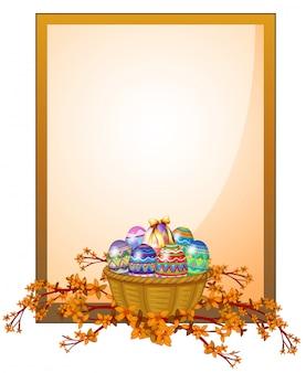 Uma sinalização de moldura vazia com uma cesta de ovos
