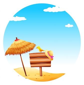 Uma tabuleta vazia na praia