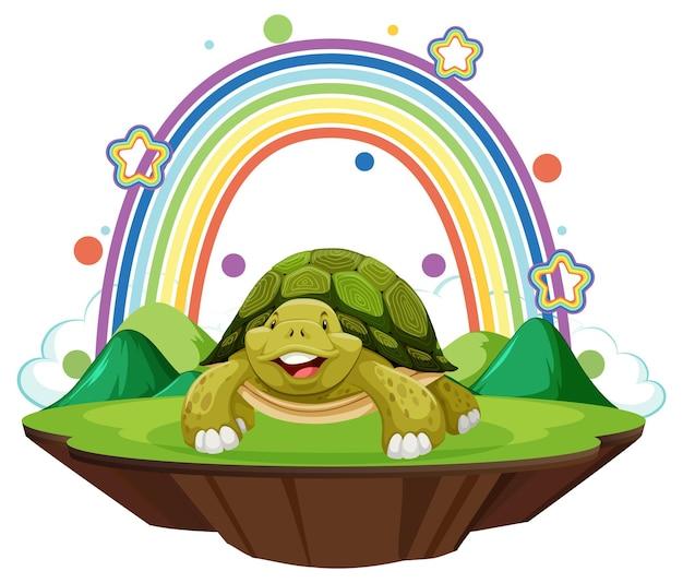 Uma tartaruga em pé com um arco-íris no fundo branco