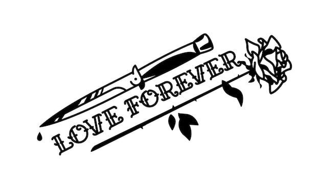 Uma tatuagem com uma faca e uma rosa.