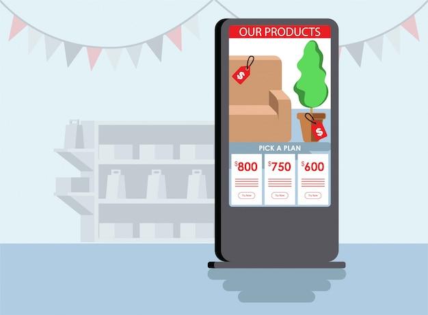 Uma tela de quiosque exibe alguns pacotes de produtos ilustração plana