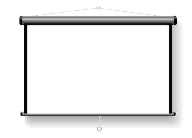 Uma tela projetada com um tripé para suas apresentações