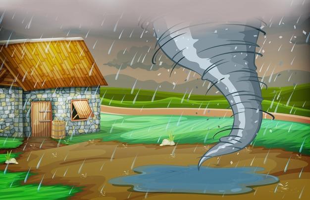 Uma tempestade atingiu a casa