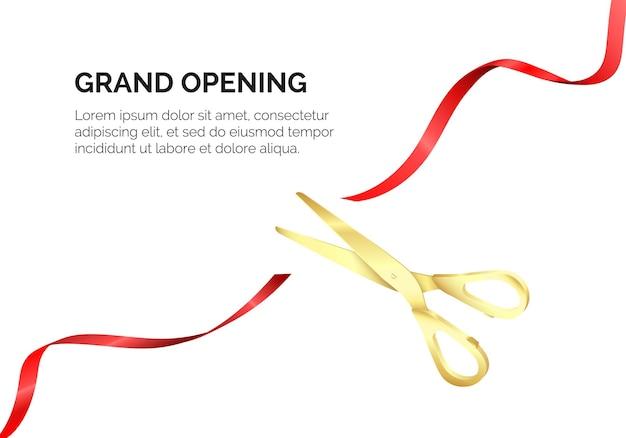 Uma tesoura dourada corta uma fita de seda vermelha. cerimônia de inauguração. comece a comemorar. ilustração em vetor realista isolada no branco
