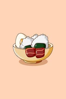Uma tigela de sushi e ilustração dos desenhos animados de carne