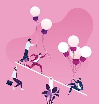 Uma única pessoa é mais pesada que um grupo de pessoas em uma escala de balanço