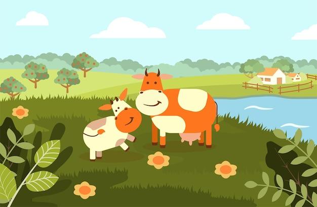 Uma vaca com um bezerro no fundo de uma paisagem rural. ilustração plana.