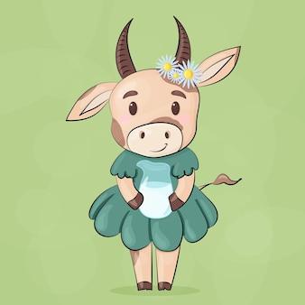 Uma vaca fofa em um vestido verde com uma jarra de leite de vidro