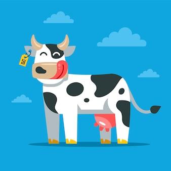 Uma vaca satisfeita está de pé no campo e apertando os olhos com prazer. ilustração em vetor personagem plana.