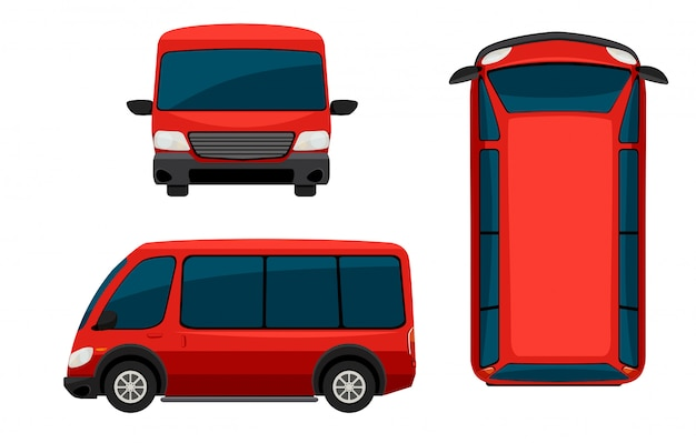 Uma van vermelha