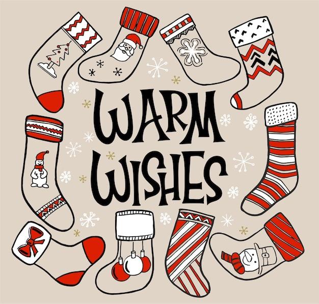 Uma variedade de meias de natal