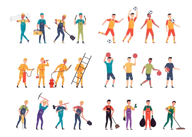 Uma variedade de pacotes de empregos para hospedar trabalhos de ilustração, como capataz, esportista, bombeiro, trabalhador, garçom