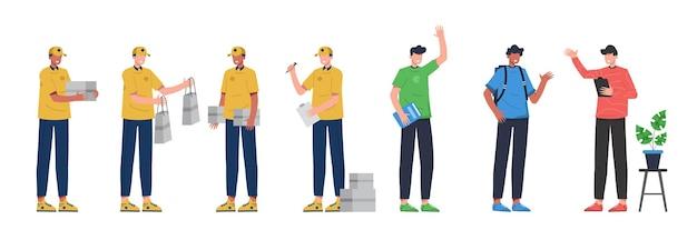Uma variedade de pacotes de trabalho para hospedar trabalhos de ilustração, como entrega, aluno em um fundo branco. ilustração design plano