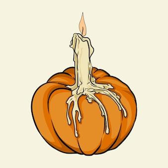 Uma vela derretida em uma abóbora ilustração em vetor desenhada à mão isolada no fundo