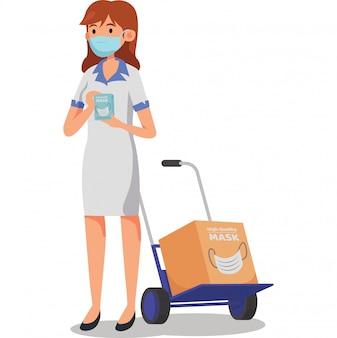 Uma vendedora está oferecendo máscara médica para ilustração de venda