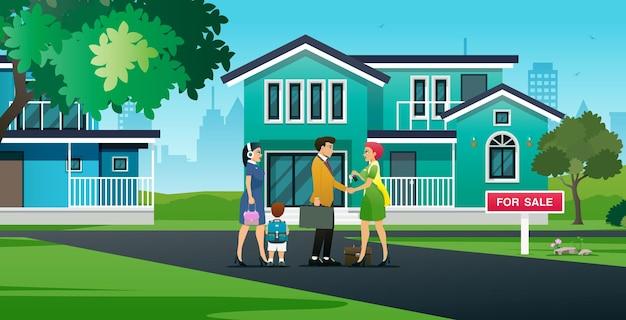 Uma vendedora parabeniza uma família que comprou uma casa
