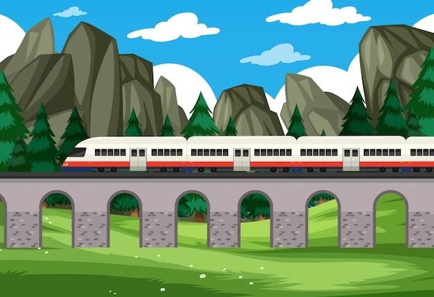 Uma viagem de trem moderno para fundo de natureza