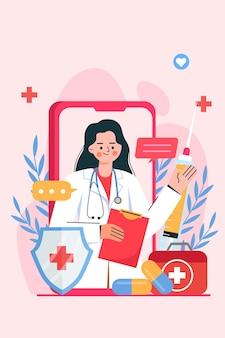 Uma videochamada online para um médico
