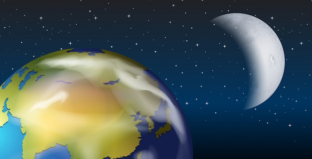 Uma visão do espaço da terra e da lua