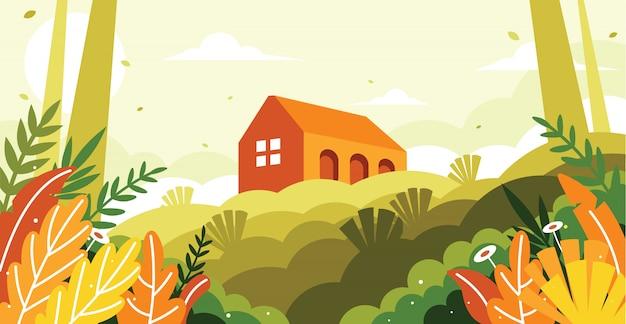 Uma vista de um edifício em uma ilustração de colina