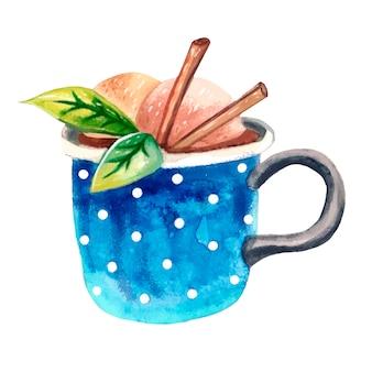 Uma xícara de aquarela azul com cacau, bolas de sorvete, canela e folhas verdes de hortelã