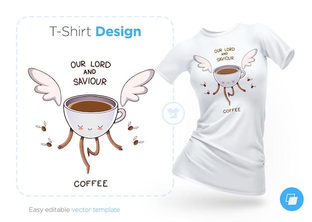 Uma xícara de café com asas design de camiseta impressão de pôsteres de roupas ou lembranças
