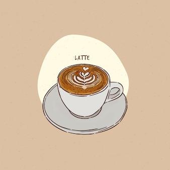 Uma xícara de café com leite, esboço de desenho de mão.
