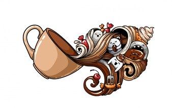 Uma xícara de café com palmeiras.