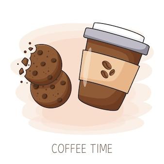 Uma xícara de café de papel com biscoitos café para viagem dia internacional do café