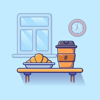 Uma xícara de café e croissant com forma crescente sobre uma mesa para café da manhã.