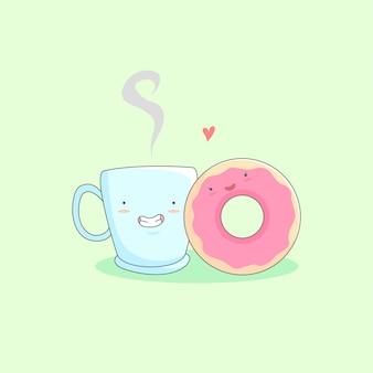 Uma xícara de café e um donuts amam ilustração dos desenhos animados