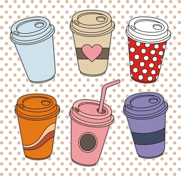 Uma xícara de café em estilo doodle