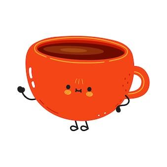 Uma xícara de café engraçada e fofa acenando com o personagem