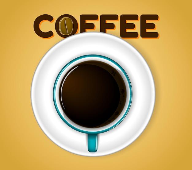 Uma xícara de café preto vista superior ou uma xícara de chá e pires eps 10 vector fácil de modificar